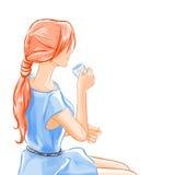 Η γυναίκα κάθεται και πίνει το τσάι ποτών απεικόνιση αποθεμάτων