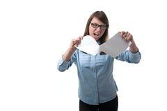 Η γυναίκα κάνει εμετό τα έγγραφα Στοκ φωτογραφία με δικαίωμα ελεύθερης χρήσης
