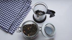 Η γυναίκα κάνει το πράσινο τσάι με jasmine στα γαλλικά να πιέσει απόθεμα βίντεο