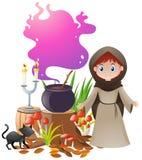 Η γυναίκα και μαγικός παρασκευάζει στο δοχείο απεικόνιση αποθεμάτων