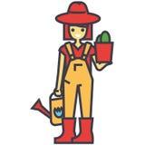Η γυναίκα κηπουρών με τις εγκαταστάσεις και το πότισμα μπορούν, εργαζόμενος στον κήπο, έννοια αγροτών διανυσματική απεικόνιση