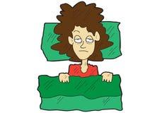Η γυναίκα κινούμενων σχεδίων δεν μπορεί να κοιμηθεί στο κρεβάτι της Στοκ Εικόνες