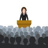 Η γυναίκα κρατά μια διάλεξη σε μια επίπεδη απεικόνιση ακροατηρίων διανυσματική απεικόνιση