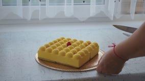 Η γυναίκα κόβει το κέικ απόθεμα βίντεο