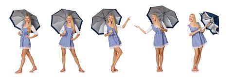 Η γυναίκα με την ομπρέλα που απομονώνεται στο λευκό Στοκ φωτογραφία με δικαίωμα ελεύθερης χρήσης