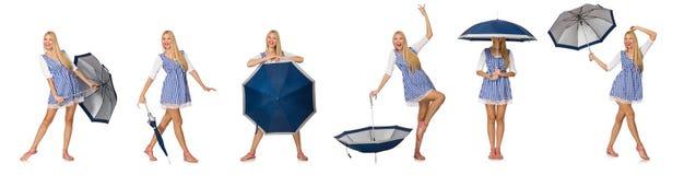 Η γυναίκα με την ομπρέλα που απομονώνεται στο λευκό Στοκ εικόνες με δικαίωμα ελεύθερης χρήσης