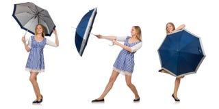 Η γυναίκα με την ομπρέλα που απομονώνεται στο λευκό Στοκ εικόνα με δικαίωμα ελεύθερης χρήσης