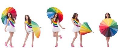 Η γυναίκα με την ομπρέλα που απομονώνεται στο λευκό στοκ εικόνες