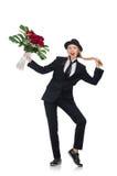 Η γυναίκα με τη δέσμη των τριαντάφυλλων που απομονώνεται στο λευκό Στοκ φωτογραφίες με δικαίωμα ελεύθερης χρήσης
