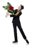Η γυναίκα με τη δέσμη των τριαντάφυλλων που απομονώνεται στο λευκό Στοκ εικόνα με δικαίωμα ελεύθερης χρήσης