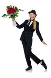 Η γυναίκα με τη δέσμη των τριαντάφυλλων που απομονώνεται στο λευκό Στοκ Εικόνα