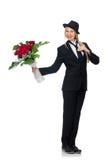 Η γυναίκα με τη δέσμη των τριαντάφυλλων που απομονώνεται στο λευκό Στοκ Φωτογραφίες