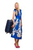 Η γυναίκα με τις βαλίτσες στο λευκό Στοκ Εικόνα