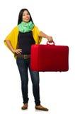 Η γυναίκα με τις βαλίτσες στο λευκό Στοκ φωτογραφία με δικαίωμα ελεύθερης χρήσης