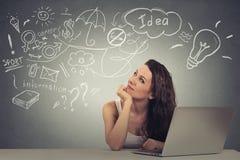 Η γυναίκα με τον υπολογιστή που σκέφτεται να ονειρευτεί έχει τις ιδέες ανατρέχοντας στοκ φωτογραφία