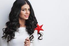 Η γυναίκα με το αστέρι διαμόρφωσε τη μαγική ράβδο Στοκ φωτογραφία με δικαίωμα ελεύθερης χρήσης