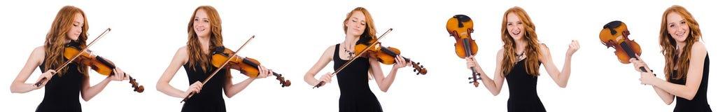 Η γυναίκα με το βιολί που απομονώνεται στο λευκό Στοκ Εικόνες