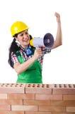 Η γυναίκα με το μεγάφωνο που απομονώνεται στο λευκό Στοκ Εικόνες