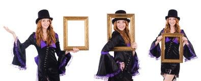 Η γυναίκα με το πλαίσιο εικόνων στο λευκό Στοκ Εικόνες