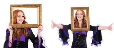 Η γυναίκα με το πλαίσιο εικόνων στο λευκό Στοκ Εικόνα