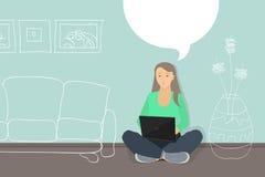 Η γυναίκα με το lap-top που κουβεντιάζει, επιλέγει τα έπιπλα για το δωμάτιό της Π απεικόνιση αποθεμάτων