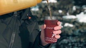 Η γυναίκα πίνει το καυτό τσάι στο δασικό, όμορφο χειμερινό τοπίο με τα χιονώδη δέντρα έλατου απόθεμα βίντεο