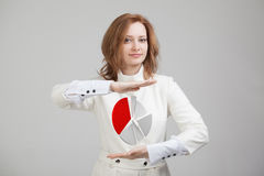 Η γυναίκα παρουσιάζει διάγραμμα πιτών, διάγραμμα κύκλων Έννοια επιχειρησιακού analytics Στοκ Εικόνες