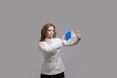 Η γυναίκα παρουσιάζει διάγραμμα πιτών, διάγραμμα κύκλων Έννοια επιχειρησιακού analytics Στοκ Εικόνα