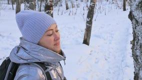 Η γυναίκα περπατά στα ξύλα Ο ταξιδιώτης είναι περίπατος στο δάσος σημύδων στο πάρκο πόλεων Περίπατοι κοριτσιών στο χρόνο βραδιού  απόθεμα βίντεο