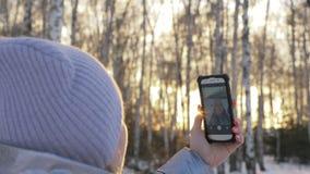 Η γυναίκα περπατά στα ξύλα Ο ταξιδιώτης φωτογραφίζεται στο τηλέφωνο στο δασικό κορίτσι selfie και επικοινωνεί με απόθεμα βίντεο
