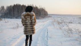 Η γυναίκα περπατά στον τομέα χιονιού απόθεμα βίντεο