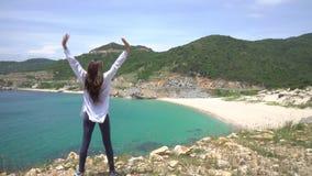 Η γυναίκα που οργανώθηκε πάνω από ένα βουνό με τα χέρια επάνω υποστηρίξτε την όψη Μεγαλοπρεπές τοπίο λιμνοθαλασσών παραλιών Κόσμο απόθεμα βίντεο