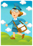 Η γυναίκα που παραδίδει το ταχυδρομείο - απεικόνιση για τα παιδιά Στοκ εικόνα με δικαίωμα ελεύθερης χρήσης