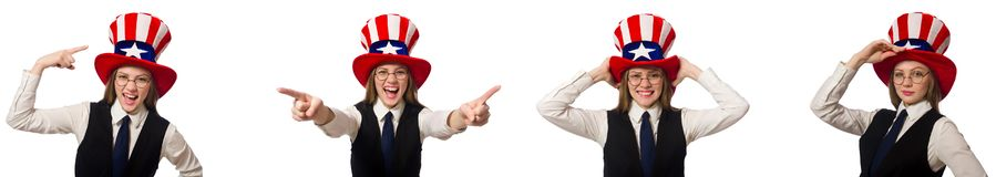 Η γυναίκα που φορά το καπέλο με τα αμερικανικά σύμβολα στοκ εικόνες