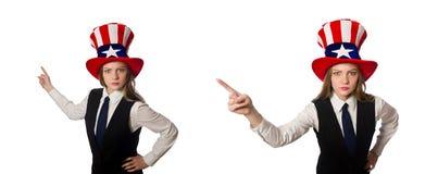Η γυναίκα που φορά το καπέλο με τα αμερικανικά σύμβολα στοκ φωτογραφίες