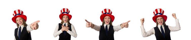Η γυναίκα που φορά το καπέλο με τα αμερικανικά σύμβολα στοκ φωτογραφία