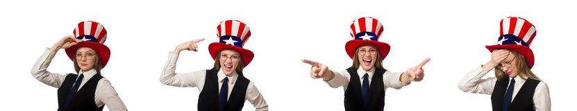 Η γυναίκα που φορά το καπέλο με τα αμερικανικά σύμβολα στοκ φωτογραφία με δικαίωμα ελεύθερης χρήσης