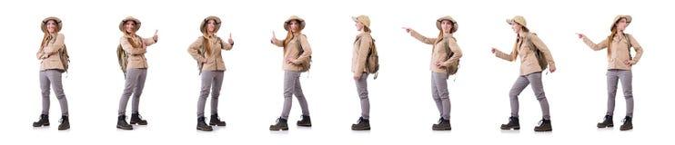 Η γυναίκα που φορά το καπέλο σαφάρι στο λευκό στοκ εικόνες