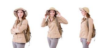 Η γυναίκα που φορά το καπέλο σαφάρι στο λευκό στοκ εικόνα