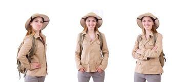 Η γυναίκα που φορά το καπέλο σαφάρι στο λευκό στοκ φωτογραφία με δικαίωμα ελεύθερης χρήσης