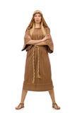 Η γυναίκα που φορά το μεσαιωνικό αραβικό ιματισμό στο λευκό Στοκ Φωτογραφία