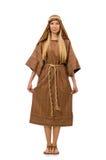 Η γυναίκα που φορά το μεσαιωνικό αραβικό ιματισμό στο λευκό Στοκ φωτογραφία με δικαίωμα ελεύθερης χρήσης