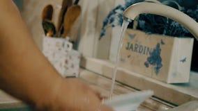 Η γυναίκα πλένει ένα πιάτο με το σαπούνι στην κουζίνα Άποψη κινηματογραφήσεων σε πρώτο πλάνο με τη δευτερεύουσα κίνηση καμερών απόθεμα βίντεο