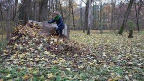 Η γυναίκα ρίχνει τα φθινοπωρινά φύλλα από την τσάντα στο λίπασμα σωρών 4K απόθεμα βίντεο