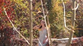 Η γυναίκα σε ένα μακρύ φόρεμα στέκεται σε ένα παλαιό μπαλκόνι σε ένα παλαιό μέγαρο στο πάρκο φθινοπώρου φιλμ μικρού μήκους