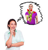 Η γυναίκα σκέφτεται για έναν άνδρα με τα λουλούδια Στοκ Εικόνες
