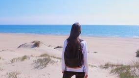 Η γυναίκα στέκεται στην παραλία άμμου θάλασσας μεταξύ των αμμόλοφων και φαίνεται εν πλω πίσω άποψη διακοπών φιλμ μικρού μήκους