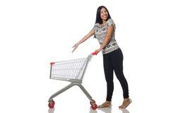Η γυναίκα στην έννοια αγορών στο λευκό Στοκ Εικόνες
