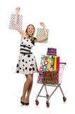 Η γυναίκα στην έννοια αγορών υπεραγορών στοκ εικόνα με δικαίωμα ελεύθερης χρήσης