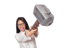 Η γυναίκα στην αστεία επιχειρησιακή έννοια στο λευκό Στοκ Φωτογραφία